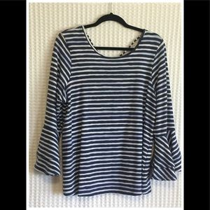 Tulip sleeved pin striped top.